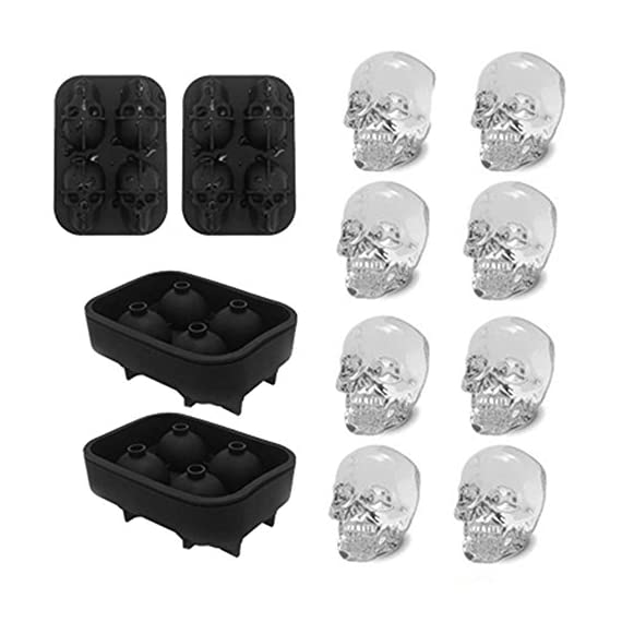 "3D Skull Ice Mold-2Pack,Easy Release Silicone Mold,8 Cute and Funny Ice Skull for Whiskey,Cocktails and Juice Beverages,Black 1 2 pack ice mold :eight giant skull shape ice cubes (2"" X 2.5"") make your drink look awesome. Great for parties, bars, restaurants, summer, holiday events and holiday gifts. Reliable material: food grade silicone. Non-toxic.100% safe to use. Non-stick materials. Easy to make a full skull ice.This durable and flexible silicone ice tray won't crack or break like plastic ice tray; easy to fill, remove and clean. Multiple use: it can also be used as mousse mold, sugar mold, chocolate, ice cream, soap making tools. And it is fantastic to be used in various occasions like parties, beaches, wine party and holiday events etc."