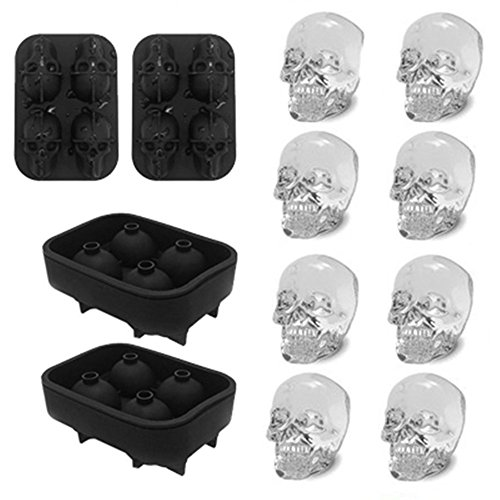 3D Skull Ice Mold-2Pack,Easy Release Silicone Mold,8 Cute and Funny Ice Skull for Whiskey,Cocktails and Juice Beverages,Black]()
