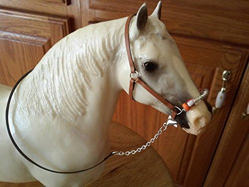 - Breyer Peter Stone horse custom halter and lead tan leather beads