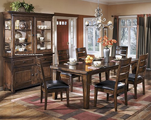Lairecmont Casual Burnished Dark Brown Color Rectangle Dining Room Table Set, Table, 6 Chairs