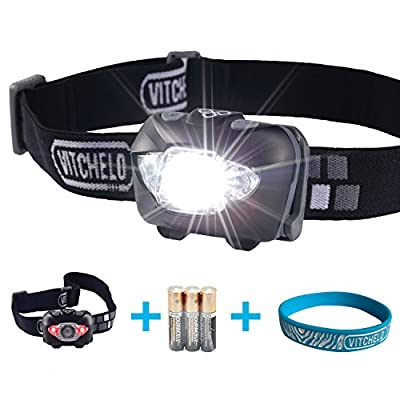 VITCHELO V800 Headlamp with White and Red LED Lights. Waterproof IPX6 and 168 Lumens Bright Head Light. 3 AAA Duracell Batteries Included by VITCHELO