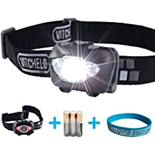 VITCHELO V800 Headlamp with White and Red LED Lights. Waterproof IPX6 and 168 Lumens Bright Head Light. 3 AAA Duracell Batteries Included