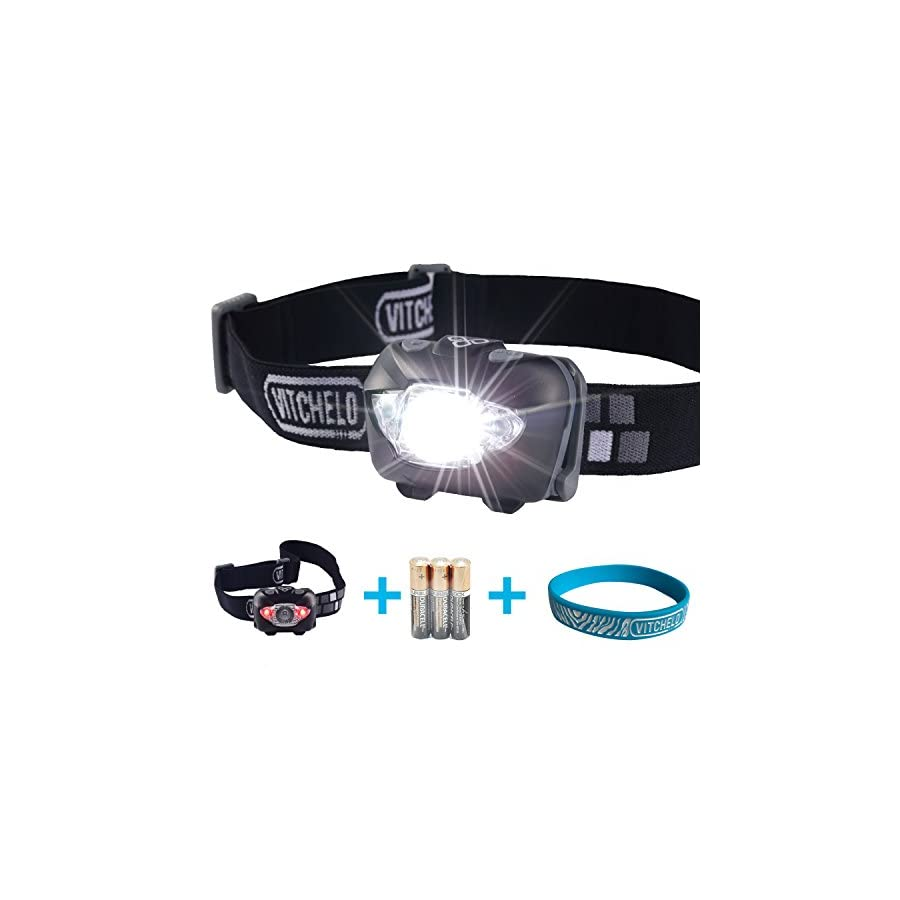 VITCHELO V800 Headlamp with White and Red LED Lights. Waterproof IPX6 and 168 Lumens Bright Head Light. 3 AAA Panasonic Batteries Included