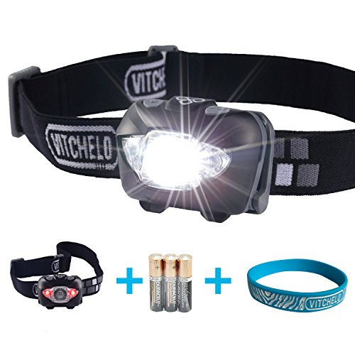 VITCHELO V800 Headlamp with White and Red LED Light. Waterproof IPX6 and 168 Lumens Bright
