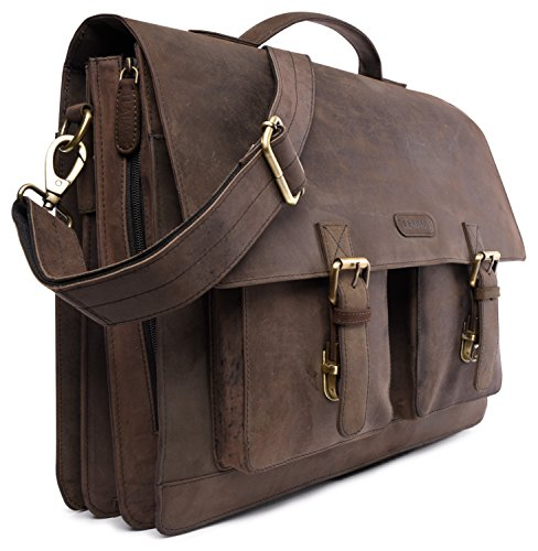 Nutmeg LEABAGS Nutmeg Miami leather briefcase in buffalo style vintage genuine R8Rqw1aP