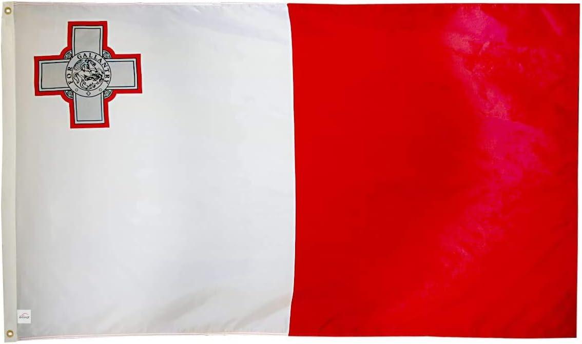 Bandera Malta Tela Ericraft Bandera maltesa Grande 90x150cms Bandera de Malta de balc/ón para Exterior Reforzada y con 2 Ojales met/álicos