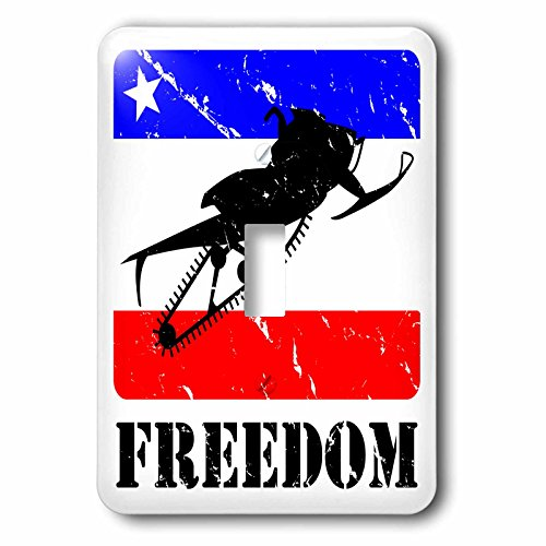 3dRose lsp_180546_1 Distressed Image of a Snowmobile on a Red, White and Blue Banner Light Switch - Snowmobiles Red