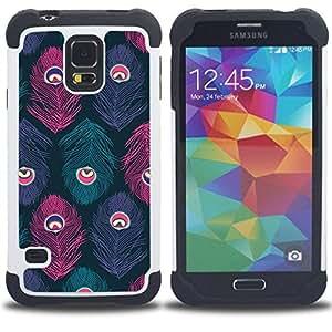 - feather eye teal pastel colors/ H??brido 3in1 Deluxe Impreso duro Soft Alto Impacto caja de la armadura Defender - SHIMIN CAO - For Samsung Galaxy S5 I9600 G9009 G9008V