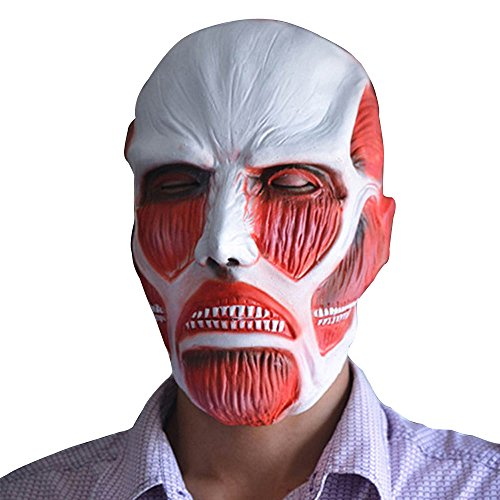 Attack on Titan mask ,fengus Giant Cosplay Costume Prop Halloween Rubber Mask -