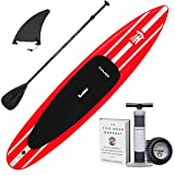 Tower iRace Inflatable 12'6' Stand Up Paddle Board - (6 Inches Thick) - Universal SUP Wide Stance - Premium SUP Bundle (Pump & Adjustable Paddle Included) - Non-Slip Deck - Red