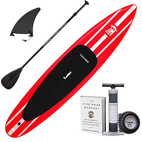 Tower iRace Inflatable 12 6 Stand Up Paddle Board – 6 Inches Thick – Universal SUP Wide Stance – Premium SUP Bundle Pump Adjustable Paddle Included – Non-Slip Deck – Red