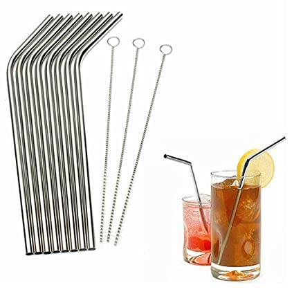 Connoworld Reusable Stainless Steel Drinking Straw with Cleaner Brush Kitchen Kit, Includes 1 Drinking Straw + 1 Cleaning Brush