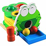 Cartoon Wooden Frog Pounding Toy Knocked Table Ball Game For Toddlers Kids Educational Toy