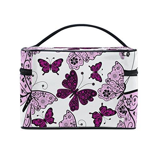 10a90011e122 Cosmetic Bags Beautiful Butterflies Dark Purple Pink Black PU Leather Makeup  Organizer for Women Teen Girls