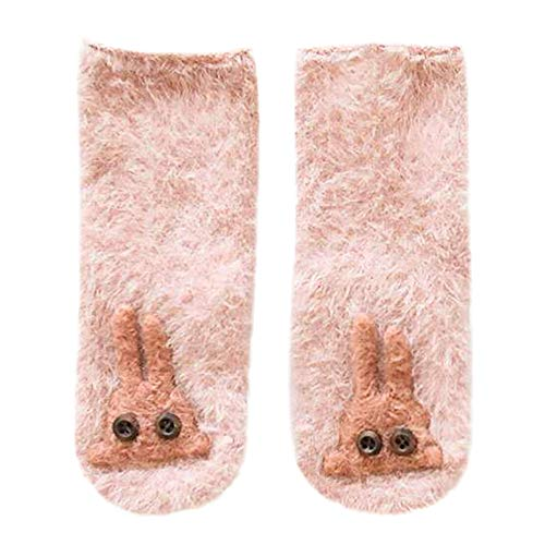 Price comparison product image Lisin Kids Infant Toddler Cute Unisex Baby Rabbit Cartoon Solid Anti-Slip Warm Lovely Socks (1-3Years,  Pink A)