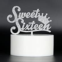 Sweet 16 Cake Topper - Silver Crown Sweet Sixteen Cake Topper - 16th Birthday Party Decorations Supplies