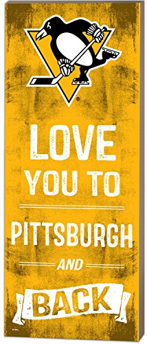 """KH Sports Fan 7""""x18"""" Pittsburgh Penguins Love You to NHL Logo Plaque"""
