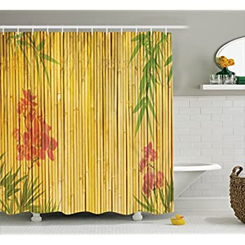 Ambesonne Bamboo House Decor Collection, Lotus Flower And Bamboo Background  On Stems Tropical Plant Oriental