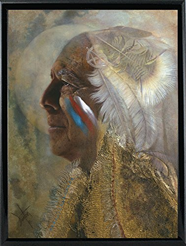 Frame USA Wicasa Wakan (the Holy Man) Framed Print 42.5''x31.5'' by Denton Lund, 42.5x31.5, Metal Frame Shiny Black by Frame USA