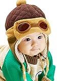 Fullkang Baby Boys Earflap Hat, Winter Warm Pilot Aviator Crochet Caps (Coffee)
