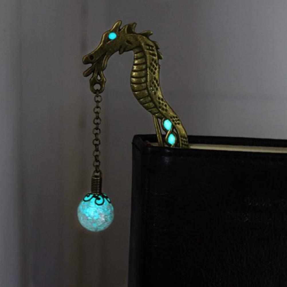 SUPVOX Vintage Bookmark Metal Bookmarks Luminous Bookmark Chinese Dragon Hairpin Shaped Bookmark