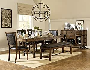 rustic turnbuckle dining table set in burnished oak table u0026 bench u0026 4 - Oak Table And Chairs