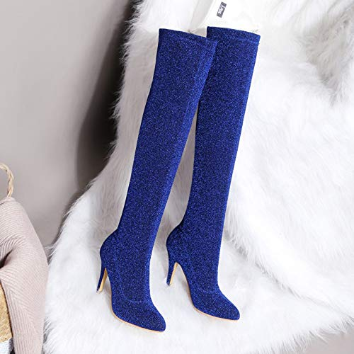Femme Party Zpfmm Mid Overknees Stretch Bottes Sexy Bleu Stiletto qWWURzn