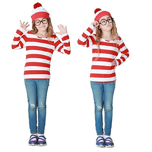 Where's Waldo Costume Kids (Where's Waldo Now Kids Costume Adult Funny Sweatshirt Hoodie Outfit Hat Cap Suits (L))