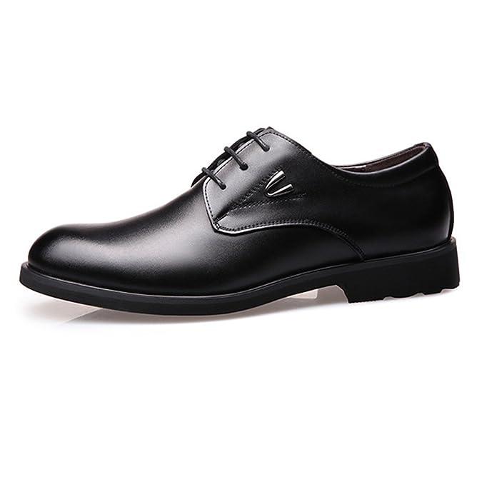 Yaojiaju Formale Geschäfts-Schuhe der Männer, Glatte PU-Lederne Spleiß-Oberleder-Spitze Breathed gefütterte Oxfords (Farbe : Brown, Size : 45 EU)