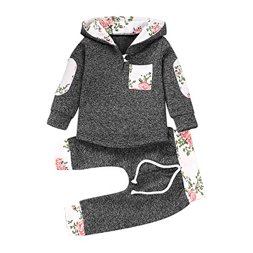 Toddler Baby Girls Boys Plaid Hooded Fleece Sweatshirt with Pocket Pullover Tops + Long Pants Winter Warm Clothes Set (Grey#Floral, 18-24 Months)