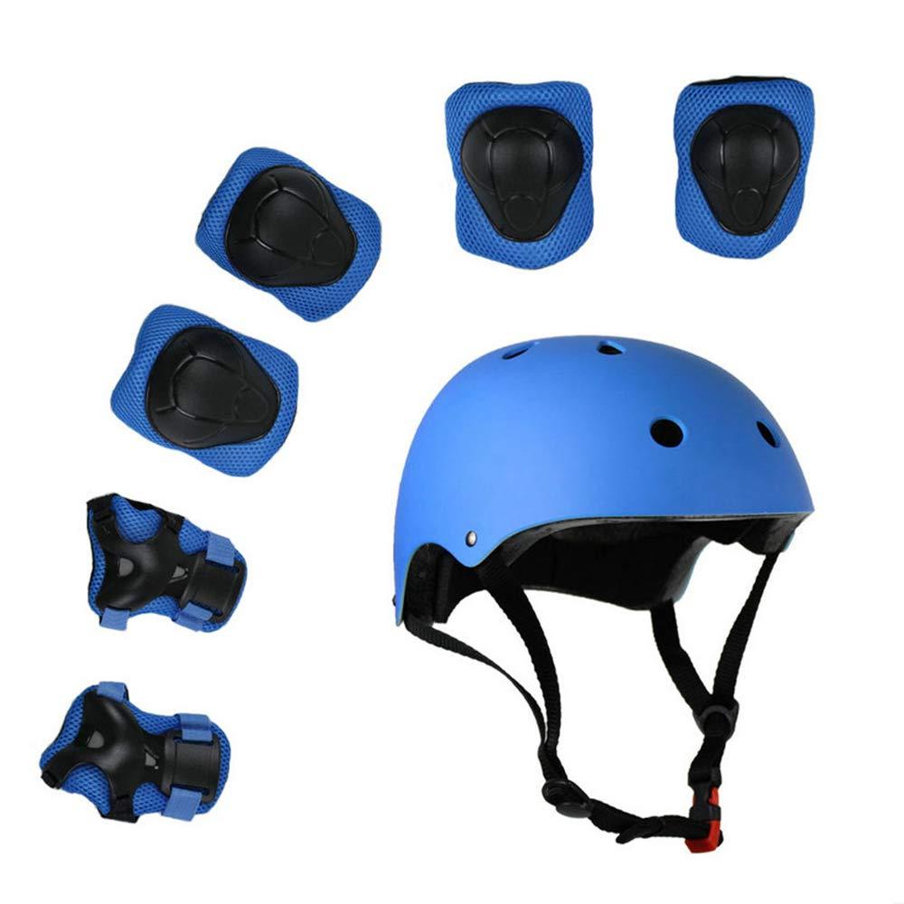 Kinder 7 Stücke Outdoor Sports Schutzausrüstung Set Jungen Mädchen Fahrradhelm Sicherheit Pads Set [Knie Ellbogenschützer und Handgelenkschutz] für Roller Scooter Skateboard Fahrrad (3-8 Jahre Alt) Lucky-M