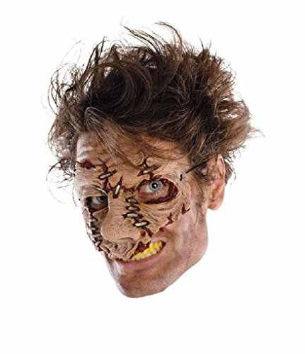 [Ponce Dead Cracked Skin Mask Creepy Face Zombie Monster Stitches Costume] (Dead Prom Queen And King Costumes)