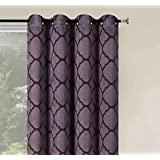 2 Pack: Basic Metallic Sheen Energy Saving Lattice Grommet Top 84 In  Blackout Curtains   Assorted Colors (Purple)