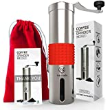 Coffee Grinder Manual : Professional and Portable Coffee bean Grinder with Heavy Duty Stainless Steel and Adjustable Ceramic Burr grinder -Aeropress Compatible- Best Coffee Mill Offers Consistency And Precision- FREE lovely suede Carrying Pouch by ICE COALS