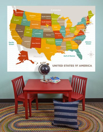 Oopsy Daisy Murals - Oopsy Daisy Murals That Stick Wood Grain US Map by Molly Bernarding, 72 by 54-Inch