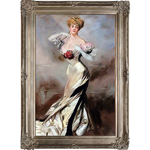 overstockArt La Pastiche Portrait of The Countess Zichy, 1905 by Boldini with Renaissance Champagne Frame (Renaissance Champagne Frame)