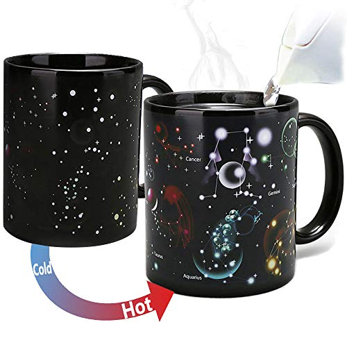 (Constellation Mug Heat Changing Color Magic Coffee Mug Heat Sensitive Porcelain Tea Cup Morphing Creative Mug Home Ceramic Cup Novelty Mugs Xmas Funny Gifts(12 OZ))