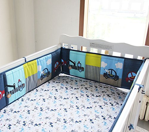 NAUGHTYBOSS Boy Baby Bedding Set Cotton 3D Embroidery Submarine Car Dog Rockets Quilt Bumper Mattress Cover 7 Pieces Set Blue Patchwork by NAUGHTYBOSS (Image #4)