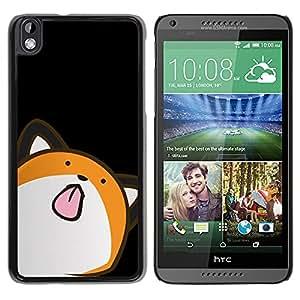 QCASE / HTC DESIRE 816 / animación gato arte dibujo lengua lamiendo / Delgado Negro Plástico caso cubierta Shell Armor Funda Case Cover