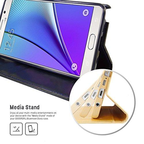 Galaxy Note 5 Fundas, [Drop Protection] GOOSPERY® Blue Moon Diary Caja del teléfono de la imitación de cuero tirón de la carpeta Fundas fundas para Samsung Galaxy Note 5 - Red Navy Gray