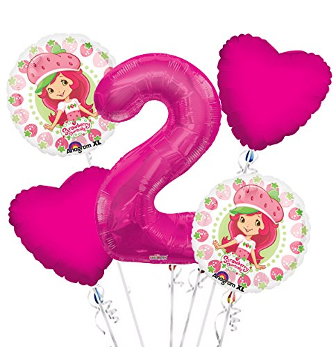 Strawberry Short Cake Balloon Bouquet 2nd Birthday 5 pcs - Party Supplies ()