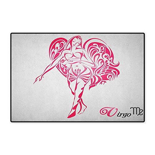 Aladdin Wings Angel - Zodiac Virgo,Door Mat Outside,The Virgin of The Zodiac Illustration with Abstract Angel Wings Mystical,Customize Door Mats for Home Mat,Pink Pale Grey,Size,16