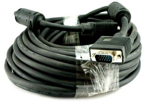 Importer520 HD15 Male to Male VGA Video Cable for TV Computer Monitor (25Ft, Black ()