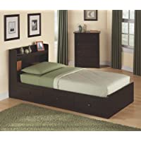 New Visions by Lane 316-301 Twin Size Storage Bed, Dark Walnut Laminate