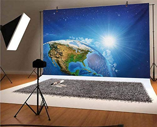 Earth 8x10 FT Photo Backdrops,United States View in Space Rising Sun Over The Earth and Its Landforms Background for Baby Birthday Party Wedding Vinyl Studio Props Photography Blue Green Pale Brown