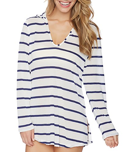 Splendid Women's Stitch Solid Hood Tunic Cover up, Navy, XS by Splendid