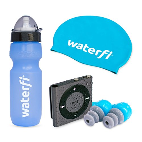 Waterfi Swim Kit Deluxe Featuring The PlatinumX Waterproofed iPod Shuffle , Waterproof Short Cord Headphones, Swim Cap, and Leakproof Water Bottle (Space Gray)