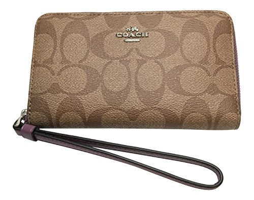 Coach Signature PVC Phone Wallet F57468 Khaki Mauve by Coach