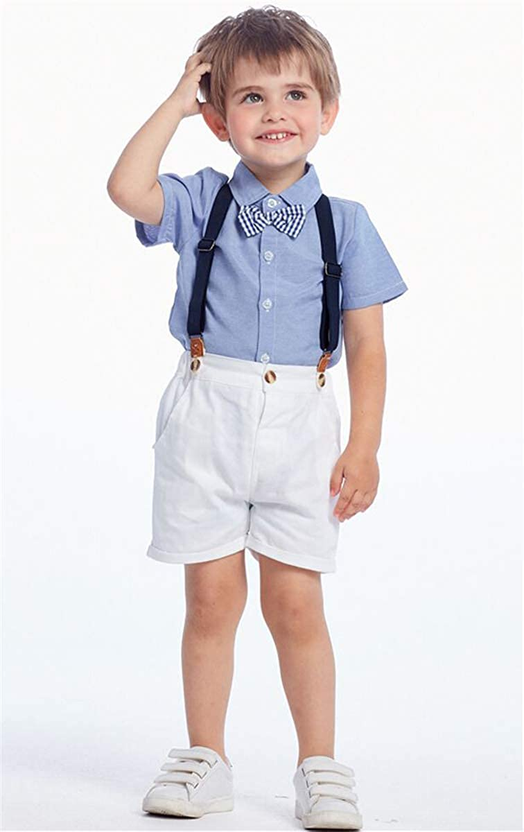 Suspender Shorts Dress Shirt with Bowtie SANGTREE Baby Boys Clothes
