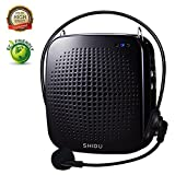 Portable Voice Amplifier 15W,SHIDU Personal Voice Amplifier with Wired Microphone Headset Rechargeable Amplifier Micorphone Speaker for Teachers,Coaches,Tour Guides,Outdoors,Elderly,Parkinsons